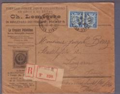 """Lettre """"Lemierre Philatélie"""" Recommandée 330 Aff. Paire 75c Ronsard Obl. Paris 8  20.11.1924 ->Luzerne - Poststempel (Briefe)"""
