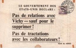 PROPAGANDE #101 WWII GUERRE 1939 1945 TRACT PAS DE RELATIONS AVEC VICHY  USA 1944 - 1939-45