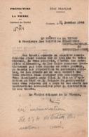 PROPAGANDE #102 WWII GUERRE 1939 1945 PREFET VIENNE POITIERS ORDRE RECUPERATION TRACTS ALLIES POUR DESTRUCTION 1943 - 1939-45