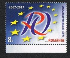2017 - ROMANIA - 10 ANNI NELL'UNIONE EUROPEA / 10 YEARS IN THE EUROPEAN UNION. USATO / USED. - 1948-.... Repubbliche