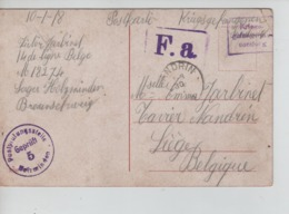 PR7419/ CP Scéne Bucolique PDG-POW Camp De Holzminden Braunschweig 1918 Diverses Censures > Nandrin C.d'arrivée - WW I