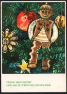 C8744 - Alfred Tröger Glückwunschkarte Weihnachten - Tannenzweig Lebkuchen Pfefferkuchen DDR Grafik - Unclassified