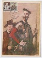 CARTE MAXIMUM CM Card USSR RUSSIA Literature Spain Writer Cervantes Don Quichotte Horse Painting - Cartes Maximum