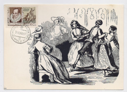 CARTE MAXIMUM CM Card USSR RUSSIA Literature Spain Writer Cervantes Don Quichotte Painting Zhoano - Cartes Maximum