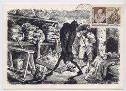CARTE MAXIMUM CM Card USSR RUSSIA Literature Spain Writer Cervantes Don Quichotte Painting Dore - Cartes Maximum