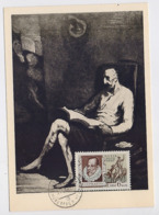 CARTE MAXIMUM CM Card USSR RUSSIA Literature Spain Cervantes Don Quichotte Horse Painting Domje - Cartes Maximum