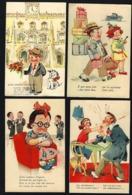 """4 X Postais COMICOS Portugueses """"ESTAÇÃO Do ROSSIO"""" Edição LIT.VALERIO Lisboa. Set Of 4 Vintage COMIC Postcards PORTUGAL - Portugal"""