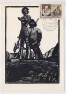 CARTE MAXIMUM CM Card USSR RUSSIA Literature Spain Cervantes Don Quichotte Horse Painting Goncharov - Cartes Maximum