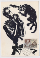 CARTE MAXIMUM CM Card USSR RUSSIA Literature Spain Cervantes Don Quichotte Horse Painting Alonso - Cartes Maximum