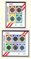 GIBRALTAR  -  1989 Coins Miniature Sheets Set Unmounted/Never Hinged Mint - Gibraltar