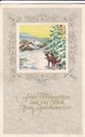 AK Frohe Weihnachten Und Viel Glück Zum Jahreswechsel - Rehe Wald Winter Haus - Künstlerkarte - 1955 (44079) - Navidad