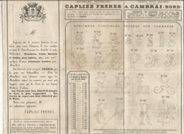 Dépliant De Prix Du 25 Mars 1892 CAPLIEZ Frères à Cambrai (59) Fabrique De Mouchoirs , Batistes Et Toiles - France