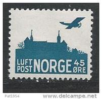 Norvège 1941 Poste Aérienne N°3 Neuf** MNH Avion Et Chateau - Ongebruikt