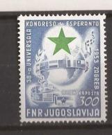 1953  730    JUGOSLAVIJA JUGOSLAWIEN  ESPERANTO WELTKONGRESS     LUX MNH - 1945-1992 Repubblica Socialista Federale Di Jugoslavia