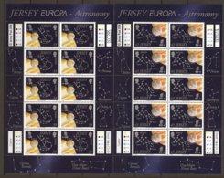 "JERSEY - EUROPA 2009 - TEMA ""ASTRONOMIA ""- TWO SHEET Of 10  With Logo  EUROPA - Europa-CEPT"