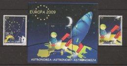"KOSOVO /  KOSOVA REPUBLIC  / EUROPA 2009  - TEMA  ""ASTRONOMIA"" - SERIE De 2 V. + Hojita Bloque - DENTADA  (PERFORATED) - Europa-CEPT"