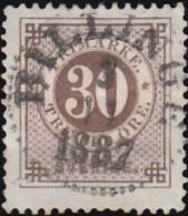 SWEDEN - Scott #35 Numeral 'Perf. 13' (*) / Used Stamp - Gebraucht