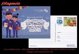 AMERICA. COLOMBIA. ENTEROS POSTALES. TARJETA POSTAL FRANQUEO PREPAGO. 2019 DÍA MUNDIAL DEL CORREO. EMISIÓN AMÉRICA UPAEP - Colombia