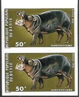 Benin  1976   Sc#364  50f Hippos Pair  Imperf  MNH     2016 Scott Value $??? - Rhinoceros