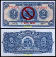 Haiti 2 Gourde, (1986) ,Overprinted, Private Propaganda Issue, Tyvek, UNC - Haïti