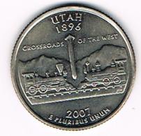 "¼ Dollar ""Washington Quarter"" Utah, 2007, UNC - 1999-2009: State Quarters"