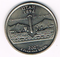 "¼ Dollar ""Washington Quarter"" Utah, 2007, UNC - EDICIONES FEDERALES"