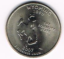 "¼ Dollar ""Washington Quarter"" Wyoming, 2007, UNC - 1999-2009: State Quarters"