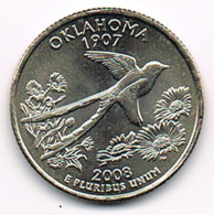 "¼ Dollar ""Washington Quarter"" Oklahoma, 2008, UNC - 1999-2009: State Quarters"