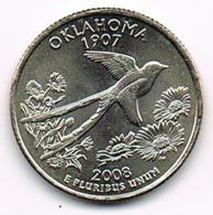"""¼ Dollar """"Washington Quarter"""" Oklahoma, 2008, UNC - EDICIONES FEDERALES"""