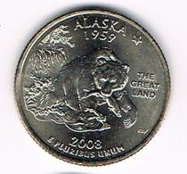 "¼ Dollar ""Washington Quarter"" Alaska, 2008, UNC - EDICIONES FEDERALES"