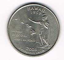 "¼ Dollar ""Washington Quarter"" Hawaii, 2008, AU - 1999-2009: State Quarters"
