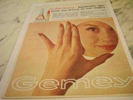 ANCIENNE  PUBLICITE LE DUO GEMEY 1961 - Perfume & Beauty
