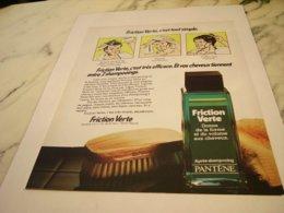 ANCIENNE  PUBLICITE FRICTION VERTE DE PANTENE   1978 - Perfume & Beauty