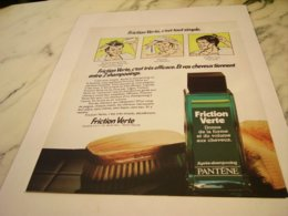 ANCIENNE  PUBLICITE FRICTION VERTE DE PANTENE   1978 - Sin Clasificación