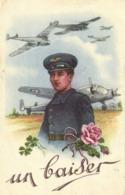 Militaria Illutrateur Un Baiser D'Un Aviateur Avions   RV - Patriottisch