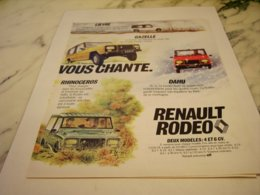 ANCIENNE PUBLICITE VOITURE RODEO RENAULT 1978 - Cars