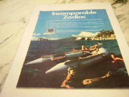 ANCIENNE PUBLICITE INCOMPARABLE BATEAU  ZODIAC 1978 - Boats