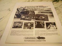 ANCIENNE   PUBLICITE AUTORADIO GRUNDIG 1978 - Other