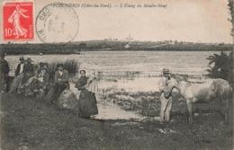 22 Plounerin Etang Du Moulin Neuf Cpa Carte Animée Cachet Plounerin 1908 - Autres Communes