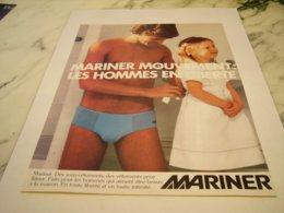 ANCIENNE PUBLICITE LES SLIPS  MARINER 1978 - Vintage Clothes & Linen