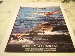 ANCIENNE PUBLICITE AVION MYSTERE 20 LE GUARDIAN 1978 - Advertisements