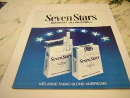 ANCIENNE PUBLICITE TABAC  CIGARETTES SEVEN STARS 1978 - Raucherutensilien (ausser Tabak)