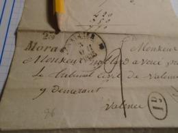 1835-DROME -Devant DeLettre + TAXEE +  Départ DROME ?? + DECIME RURAL + Cursive 25 MORAS IND/10- VALENCE - Marcophilie (Lettres)