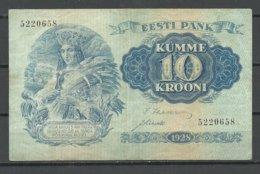 Estland Estonia Estonie 10 Krooni Bank Note Banknote 1928 - Estland