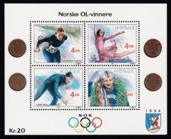 BLOC NEUF DE NORVEGE - JEUX OLYMPIQUES D'HIVER 1994, A LILLEHAMMER N° Y&T 14 - Winter 1994: Lillehammer
