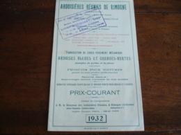 Ardoisiere Ardoise De Rimogne Ardennes Tarif 1932 - 1900 – 1949