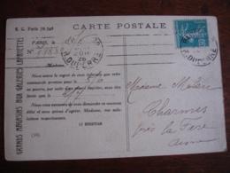 Perfin T Timbre Semeuse Carte Magasins Lafayette - Francia