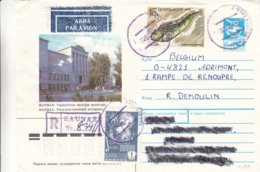 Russie - Lituanie - Lettre Recom De 1990 - Oblit Kaunas -poissons - Trains - Avions - Globe - 1923-1991 URSS