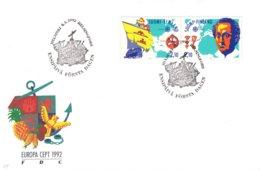 Finlande - Europa - Lettre FDC De 1992 -oblit Helsinki -  Voiliers - Découverte De L'Amérique - Europa-CEPT