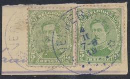 "émission 1915 - N°137 X2 Sur Fragment Obl Relais (fortune) ""Verrebroek"" - 1915-1920 Alberto I"